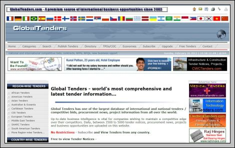 Global Tenders websites Global Tenders Global Tender Alerts